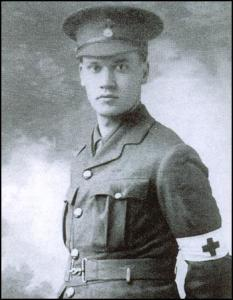Nevinson with his Red Cross armband